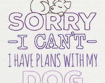 I Have Plans with My Dog Embroidered Cotton Hand Kitchen Towel