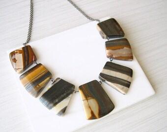 Stone Bib Necklace, Fall Jewelry, Mustard Yellow, Brown, Grey, Rust, Trendy, Statement, Chunky, Tan, Semi-precious, Autumn, Tiger Iron