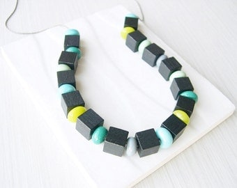 Black Wood Necklace - 5th Anniversary Gift, Modern Jewelry, Lampwork Glass, Grey, Aqua, Teal, Chartreuse Green, Cube, Statement, Multicolor