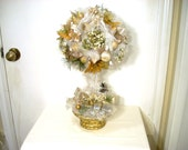 Prelit Frosted Gold Topiary, Topiary Centerpiece, Lighted Topiary