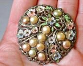 Vintage Floral Pot Metal Faux Pearls Enamel