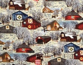 Barns with Quilt Signs - Fabri-Quilt Barns in Winter Full or Half Yard Country Barns