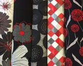 Modern Red, Black, White Floral Fabric - Fat Quarter or Half Yard Bundle Cherry Pop from Wilmington Prints - Geometric and Flowers