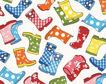 Rain Boots in Bright Color - Puddle Jumpers from Red Rooster - Full or Half Yard Rain Boots on White