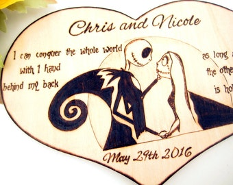 Jack and Sally Wedding Cake Topper, Nightmare before Christmas, Halloween wedding, custom quote, Personalized topper, unique gift for couple