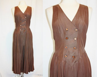 1990's Brown Jumpsuit Doublebreasted Split Skirt Brown Coffee Chocolate Pleated Size Small Medium Vintage REtro 90s HIpster Jumper