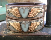 Winged heart leather bracelet - Little Wing - bohemian jewelry, boho chic, sky blue, romantic love, country cowgirl, angel wing jewelry