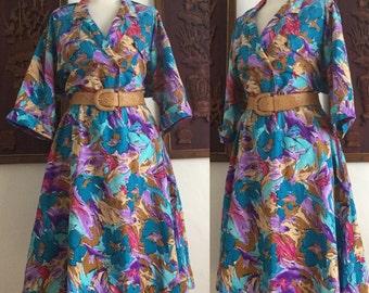 Vintage 80s / Water Color / Blue / Purple / Pink / Cotton / Secretary / Day / Dress / Large