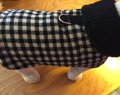 Black and Cream Check Wool Sherpa Lined Small Dog Harness Jacket