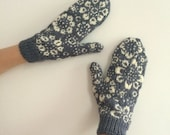 READY TO SHIP Hand Knitted Grey Wool Mittens with White Floral Snowflake Flower Pattern Fair Isle Nordic Scandianvian