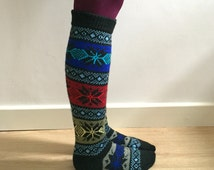 READY TO SHIP Knee Length Wool Socks Colourful Christmas Nordic Star Patterned