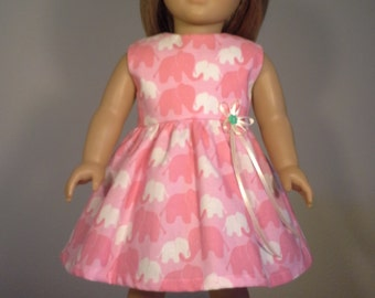 18 inch Doll Clothes Pink Elephant Print Dress fits American Girl Doll clothes