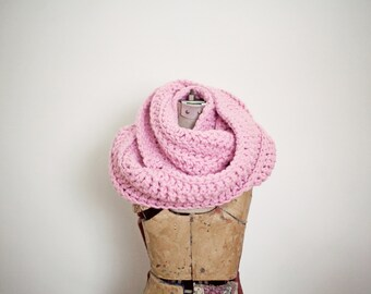Pink Cowl Scarf for Women, Crochet Infinity Scarf, Eternity Scarf, Chunky Wrap Scarf - READY TO SHIP