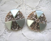 Vintage Plastic Rhinestone Earrings ~ Clip on ~ Pale Blue ~ Carved Celluloid