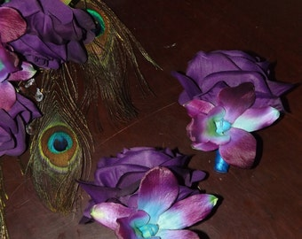 Blue galaxy orchid and purple/grape rose boutonniere, choose your orchid
