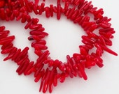 """Red Coral Stick Beads, Red Sea Bamboo Spikes Beads, Bamboo Drilled Beads, Genuine Coral Reef Chips, Jewelry Beading, 16"""" Strand Christmas"""