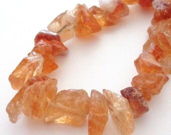 Citrine Nugget Beads - Ocher Orange Crystal Nugget Bead - Large Rough Briolette - Freeform Graduated Genuine Gemstone - 11 Pcs - Diy Jewelry