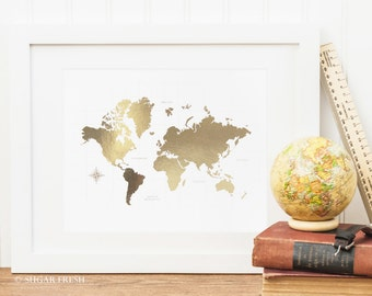 World Map - 8x10 Gold * Silver * Copper * Metallic Foil