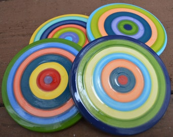 Set of Four Ceramic Coasters - Colorful Rainbow Striped Pottery - with Rubber Bumpers
