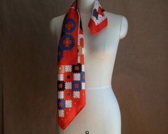 CYBER SALE / vintage 1970's scarf scarve / vibrant orange neck scarf / head wrap