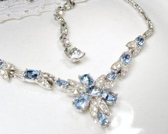 1920s Art Deco Light Sapphire Blue & Clear Pave Rhinestone Necklace, Vintage Bridal Statement Bib Necklace ALBION Designer Signed Dusty Blue