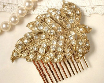 Antique Art Nouveau Rhinestone Gold Bridal Hair Comb, Vintage 1930 Leaf Dress Clip to Autumn Wedding Hairpiece Rustic Chic Country Art Deco