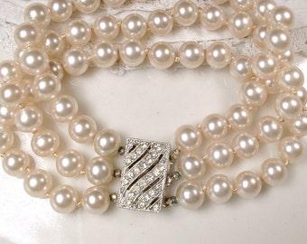 Art Deco Multi Strand Pearl Bracelet Ornate Rhinestone Clasp, Glass Ivory Pearl Bridal Bracelet 1920s Gatsby Vintage Wedding, 1950s Modern