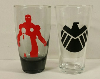 Marvel Universe Comic Iron Man (Tony Stark) and SHIELD pint glasses