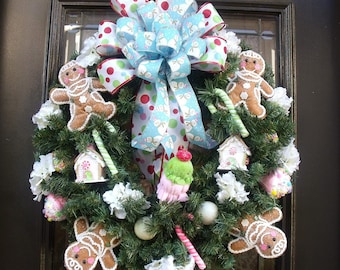 Christmas Gingerbread Wreath, Gingerbread Man Wreath, Christmas Wreath, Sweet Treats Wreath, Gingerbread Family Wreath