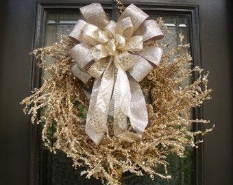 Lighted Christmas Wreath, Modern Christmas Wreaths, LIGHTED Mantel Decor, Prelit Wreath, Gold and Platinum Wreaths
