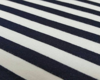 Jersey Knit Fabric - Dark Navy Blue and White Stripes