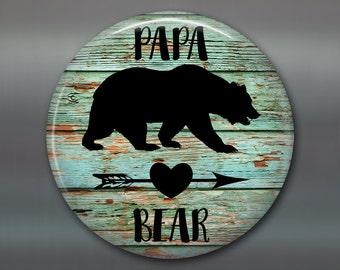 Papa bear fridge magnet - rustic kitchen decor sign - bear family decor - gift for husband - MA-SIGN-25P