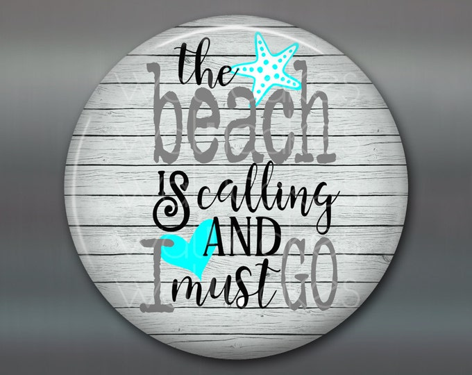rustic wood sign for kitchen -  rustic kitchen sign decor - beach lover quotes - beachy quotes kitchen decor - round magnet - MA-WORD-3W