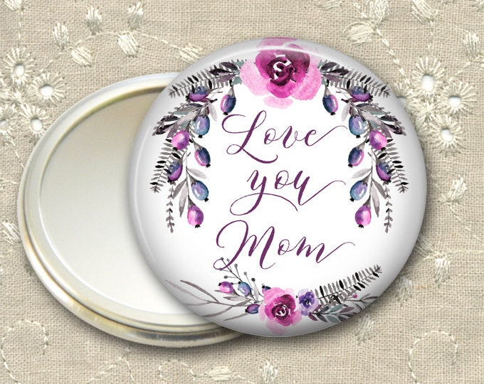 Mother's Day gift for her, floral pocket mirror, flower mirror for purse, compact mirror, fashion accessory MIR-1409