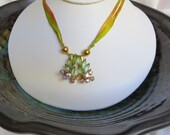 Vintage raindrops on desert cacti pendant on soft silk necklace