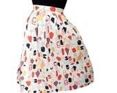 Vintage 1950's 50s Novelty Print Cotton Skirt Kite Print sz M VLV