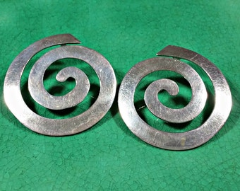 Vintage Mexico Silver Big Giant SPIRAL Earrings Oh What Fun! Sturdy But Surprisingly Lightweight and Comfortable GET NOTICED Wearing These!