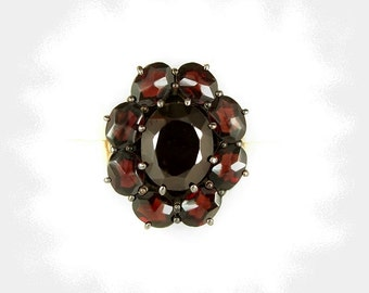 Vintage oval garnet ring in Victorian style size 8 || ГРАНАТ STC