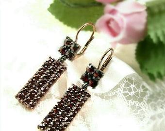 Rectangular Bohemian garnet earrings in Art Deco style