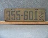 Vintage Illinois License Plate, 1931, 31, long