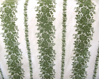 Vintage Floral Print Cotton, floral stripe, green