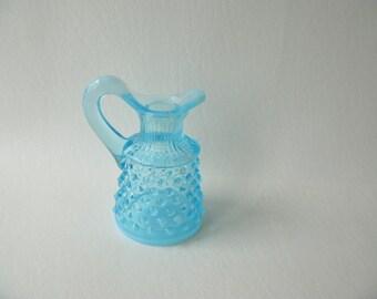 Vintage Aqua hobnail opalescent cruet, blue, pitcher, fenton