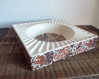 Vintage Hyalyn Pottery Large Square White and Brown Paisley Ashtray