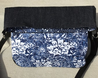 Black denim and blue and white floral cotton batik foldover crossbody purse. fold over bag. small messenger bag. cross body bag