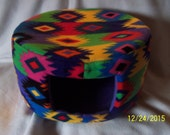 Cat Bed, Dog Bed - Large Fleece Custom Cozy Bed - Colorful Aztec