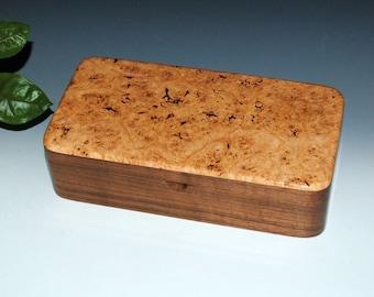 Handmade Box With Tray-Maple Burl on Walnut, Wood Jewelry Box, Treasure Box, Keepsake Box, Wooden Jewelry Box , Handmade Stash Box With Tray