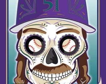 Randy Johnson Diamondbacks Sugar Skull Print 11x14