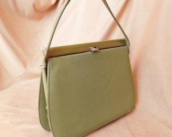 END of SUMMER SALE Rare Color... Vintage 60's Olive Green Handbag, Structured, Top Handle Kelly Bag Style, Rockabilly, Mad Men, Vlv