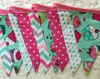 Cupcake Fabric Sewn Pennant Party Bunting