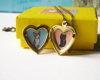 Pet Portrait Necklace - Custom Pet Pendant - Heart Locket Necklace - Dog Portrait - Cat Portrait - Personalized Pet Jewelry
